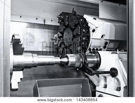 industrial metal work bore machining process by cutting tool o stock photo