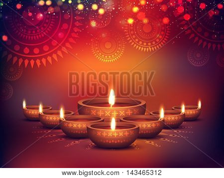 Elegant Illuminated Oil Lit Lamps, Beautiful Traditional Festive floral Background, Glowing Ornament