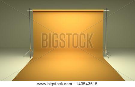 Empty photography studio background yellow template 3d render