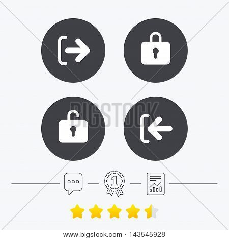 Login and Logout icons. Sign in or Sign out symbols. Lock icon. Chat, award medal and report linear icons. Star vote ranking. Vector stock photo