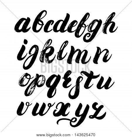 Hand written brush alphabet. Brush written font. ABC painted letters. Modern brushed lettering. Black letters isolated on white background. Brush texture. Vector illustration. stock photo
