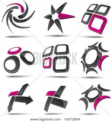 Abstract 3d vector icons such logos. stock photo