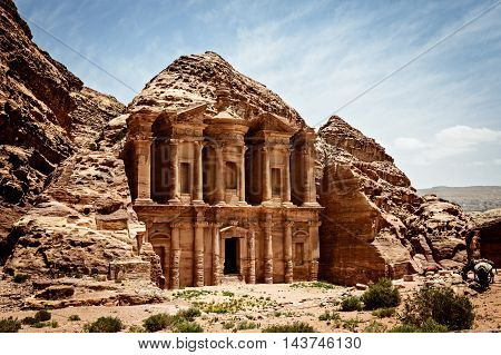 Monastery Ad-Deir ancient Nabataean city Petra Jordan. stock photo