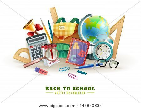 Back to school background poster for with office stationary supply items alarm clock and classroom accessories vector illustration stock photo