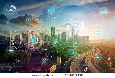 smart city and wireless communication network, abstract image visual, internet of things .