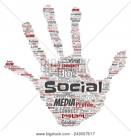 Conceptual social media networking or communication web marketing technology hand print stamp word cloud isolated on background. A tagcloud for global community worldwide concept or advertising stock photo