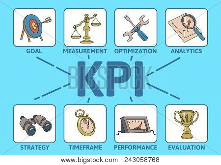 KPI concept with keywords and icons. Key Performance Indicator table. Colored line vector illustration on cyan background. stock photo