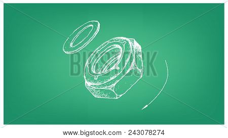 Manufacturing and Industry, Illustration Hand Drawn Sketch of Nylon Insert Lock Nut or Nyloc Nut and Screw. A Type of Fastener with Threaded Hole Used in Conjunction with A Mating Bolt to Fasten Parts Together. stock photo