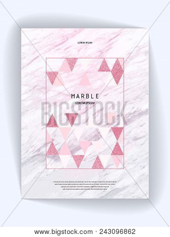 Marmoreal, rock shape . Marble texture. Geometric shapes. Rose polygonal frame. Vector illustration for design, business print, poster, card, Invitation, Party, Birthday Wedding Save the date Valentines day. Gold pink triangles background stock photo