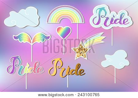 Vector set with Rainbow, cloud, heart, wings. Handwritten lettering Pride. Rainbow, clound, Pride as patch, stick cake toppers, drink toppers, laser cut plastic, wooden toppers, props for Rainbow party, Birthday lgbt concept stock photo