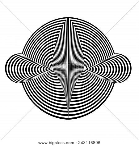 Abstract black and white striped round object. Geometric pattern with visual distortion effect. Illusion of rotation. Op art. Isolated on white background. stock photo