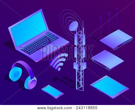 Vector 3d isometric violet laptop, router with wi-fi and radio repeater. Ultraviolet computer with headphones, smartphone for networking, cloud storage. Wireless technology, electronic mobile device. stock photo