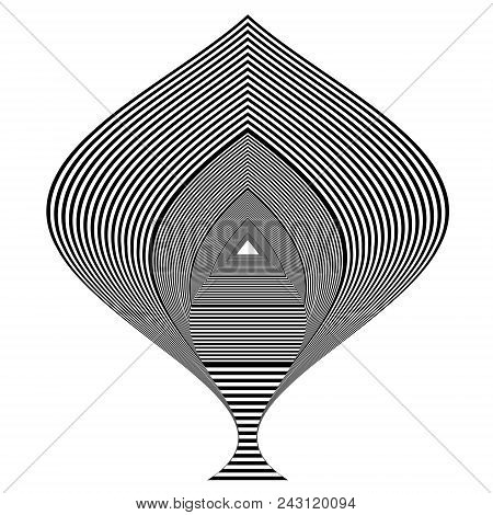 Abstract black and white geometric object. Geometric pattern with visual distortion effect. Optical illusion. Op art. Isolated on white background. stock photo