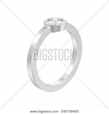 3D illustration isolated silver wedding solitaire round diamond bezel ring on a white background stock photo