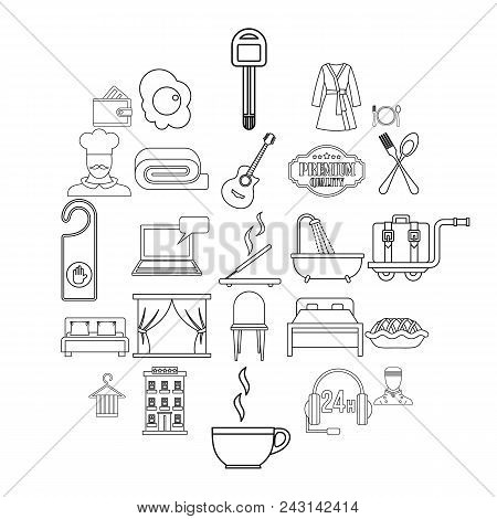Hostel icons set. Outline set of 25 hostel vector icons for web isolated on white background stock photo