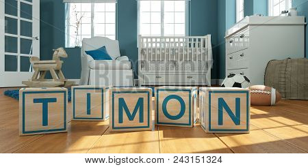 3D Illustration of the name timon written with wooden toy cubes in children's room stock photo