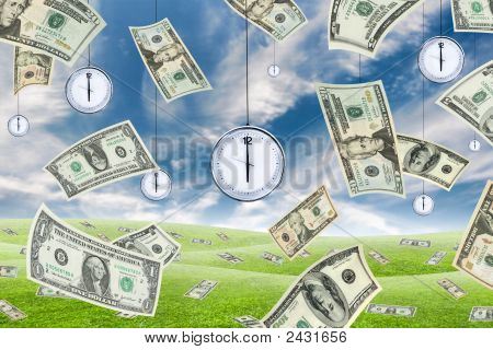 Conceptual shot about time and money with dollar banknotes falling from the sky and clocks hanging from the sky. stock photo