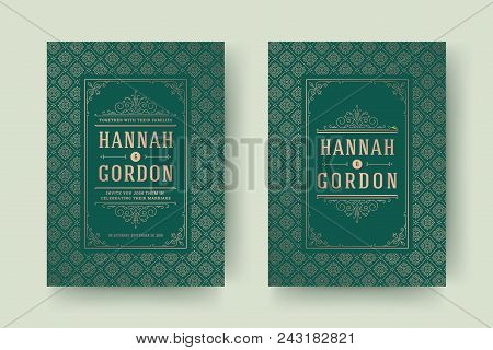 Wedding save the date invitation cards flourishes ornaments. Wedding invite title design. Vintage victorian frames and decorations. Vector elegant template. stock photo
