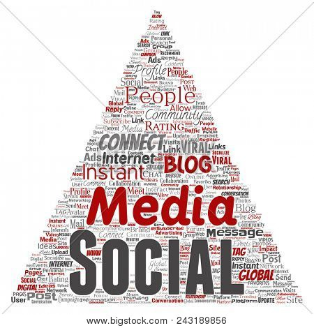 Conceptual social media networking or communication web marketing technology triangle arrow word cloud isolated on background. A tagcloud for global community worldwide concept or advertising stock photo