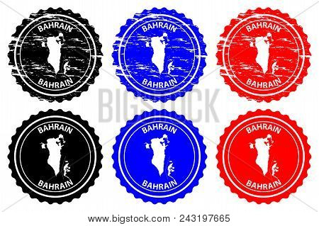 Bahrain - rubber stamp - vector, Kingdom of Bahrain map pattern - sticker - black, blue and red stock photo