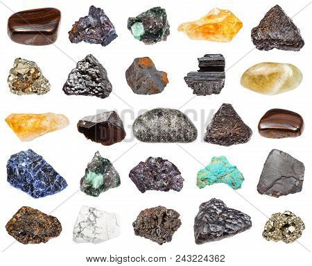 set of various minerals isolated on white background : cassiterite, peridotite, jaspillite, prasiolite, turquoise, cuprite, beryl, howlite, citrine, goethite, schorl, pyrite, hematite, sodalite stock photo