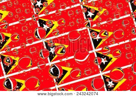 Flags  of Timor Leste, behind a glass covered with rain drops.Pattern from flags of Timor-Leste stock photo