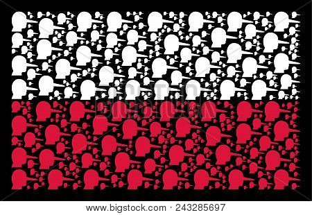 Polish National Flag pattern made with lier design elements. Flat vector lier symbols are composed into geometric Polish flag illustration on a black background. stock photo