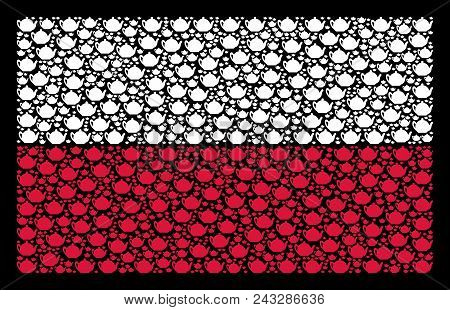 Poland Flag collage designed from teapot elements. Flat vector teapot symbols are organized into geometric Poland flag composition on a black background. Designed for political and patriotic agitprop. stock photo