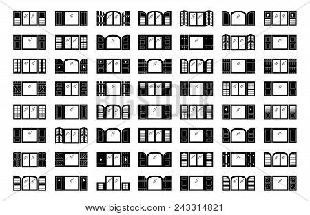 Shutters. Plantation, panel, tier on tier, bahama & louvered window coverings. Decorative exterior blinds. Board & batten shades. Front view. Flat icon collection. stock photo