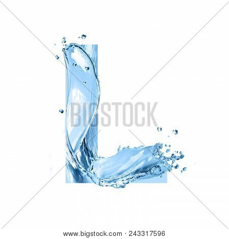 stylized font, text made of water splashes, capital letter l, isolated on white background stock photo