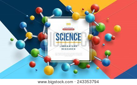 Science Banner With Square Frame And Colorful 3d Molecules On Modern Geometric Background. Vector Il