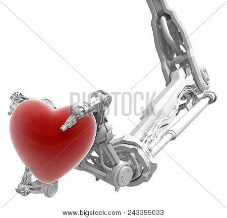 Robotic arm with three fingers white, holding red heart Valentine symbol, 3d illustration, horizontal stock photo