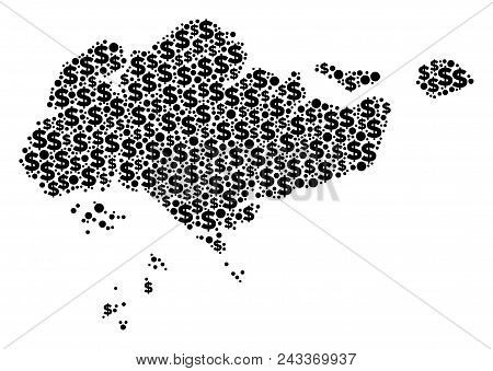 Singapore map composition of dollar symbols and circle points in variable sizes. Abstract vector business and GDP Singapore map. stock photo