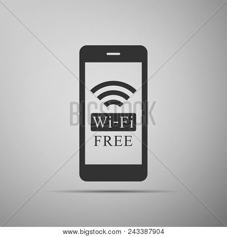 Smartphone with free wi-fi wireless connection icon isolated on grey background. Wireless technology, wi-fi connection, wireless network, hotspot concepts. Flat design. Vector Illustration stock photo
