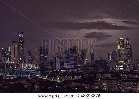 Severe Thunderstorm with lightning over the Residential area at Putrajaya, Kuala Lumpur. stock photo