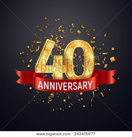 40 years anniversary logo template on dark background. Forty celebrating golden numbers with red ribbon vector and confetti isolated design elements stock photo
