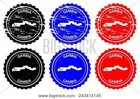 The Gambia - rubber stamp - vector, Republic of the Gambia map pattern - sticker - black, blue and red stock photo