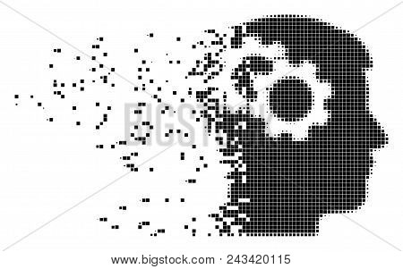 Dissolved intellect gears dot vector icon with disintegration effect. Rectangular fragments are organized into damaging intellect gears figure. stock photo