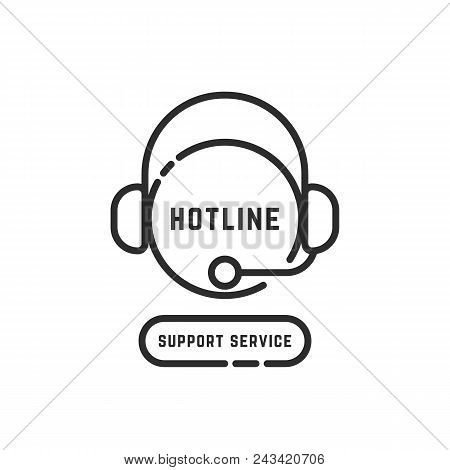 hotline support service black thin line logo. concept of nonstop 24 7 back office or adviser user interface. simple flat style trend modern app logotype graphic art pictogram design isolated on white stock photo