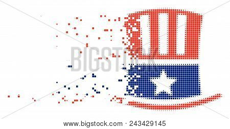 Dissolved Uncle Sam hat dot vector icon with disintegration effect. Square cells are grouped into dissolving Uncle Sam hat figure. stock photo