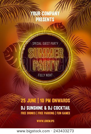 Hot Summer Night Party poster bright design with silhouettes of the palm leaves on blurred background in golden color tone. Vector illustration. stock photo