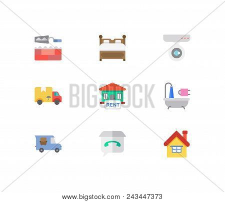 Real estate icons set. House for rent and real estate icons with surveillance service, bed and home repair. Set of carrying for web app logo UI design. stock photo