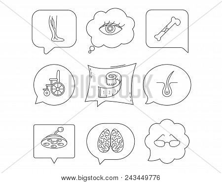 Vein varicose, neurology and trichology icons. Surgical lamp, glasses and eye linear signs. Bone fracture, wheelchair and weight loss icons. Linear Speech bubbles with icons set. Comic chat balloon stock photo