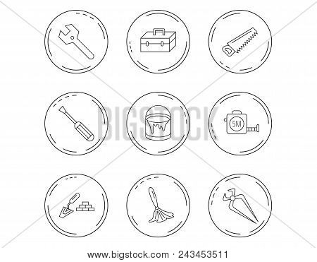 Wrench key, screwdriver and paint brush icons. Toolbox, nippers and saw linear signs. Finishing spatula icon. Linear Circles web buttons with icons. Vector stock photo