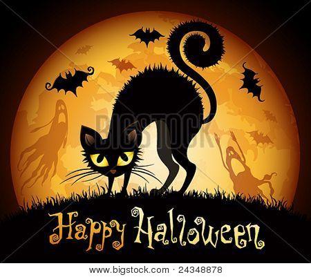 Illustration d'halloween avec un chat noir sur fond de lune.