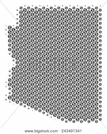 Football ball Arizona State map. Vector territory scheme in gray color. Abstract Arizona State map concept is made with soccer balls. Mosaic pattern is based on hexagonal array. stock photo