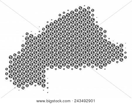 Football ball Burkina Faso map. Vector territory plan in grey color. Abstract Burkina Faso map mosaic is done from soccer balls. Mosaic pattern is based on hex tile grid. stock photo