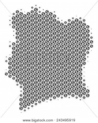 Football ball Ivory Coast map. Vector territorial scheme in grey color. Abstract Ivory Coast map collage is designed with soccer spheres. Mosaic pattern is based on hex tile array. stock photo
