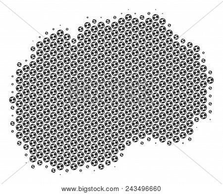 Football ball Makedonia map. Vector territorial plan in grey color. Abstract Makedonia map collage is combined of soccer balls. Mosaic pattern is based on hex tile matrix. stock photo