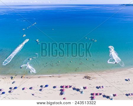 Aerial view of Tropical beach. kenting. Taiwan. stock photo
